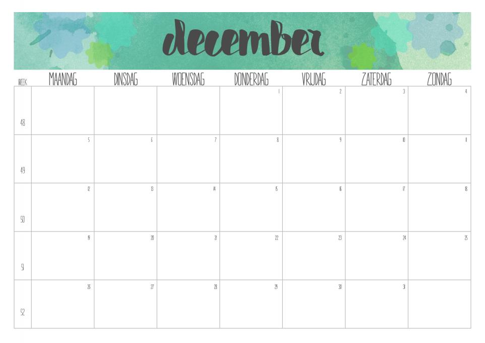 kalender december 2016