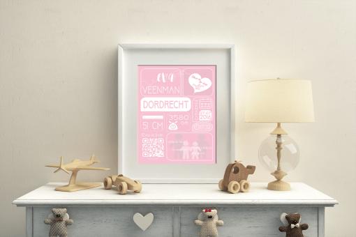 geboorteposter roze A4/A3