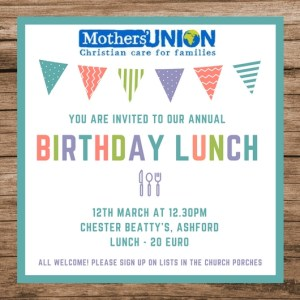 Mothers union annual birthday lunch march 12th nuns cross the mothers union will hold its annual birthday lunch in chester beattys ashford on monday 12th march at 1230pm price 20 each all welcome stopboris Choice Image