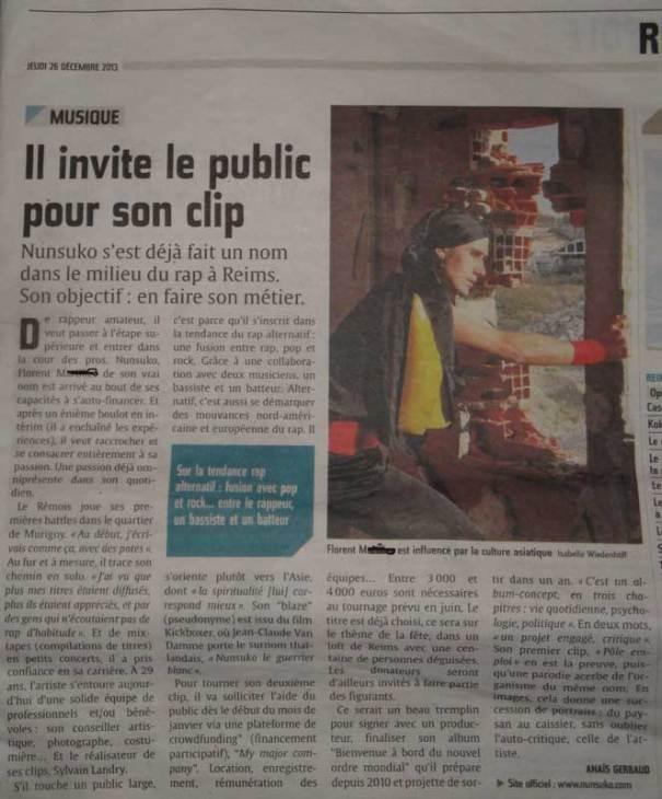 l'union reims, journal local qui porte sur l'actualité de la ville de reims en compagnie du rappeur français Nunsuko rap