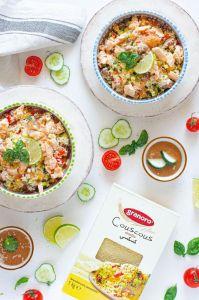 Cous cous di verdure e salmone senza cottura con estratto di pomodoro