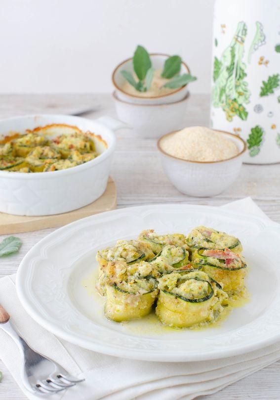 Involtini di zucchine al forno ripieni di ricotta e prosciutto