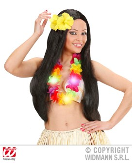 Hawaii: mollette per capelli con 2 fiori ibisco - cod. 1842A / Collana multicolor luminosa - cod. 9137H