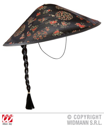 Cappello cinese in raso con treccia - cod. 2595C