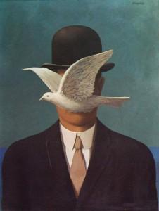 """""""L'uomo con la bombetta """". R. Magritte,  1964"""