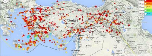 Terremoti in Turchia negli ultimi 30 giorni