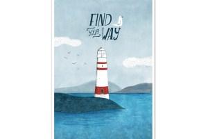 Lamina Ilustracion Faro Mar