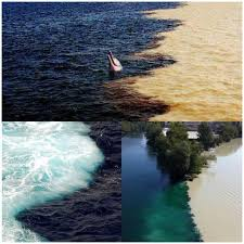 3 image of rivers, seas, oceans meet but dont mix