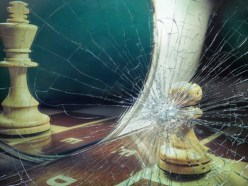Chess Soldier Thinking He's King Broken Glass