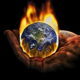 Hand holding earth on fire, awliya, insan kamil