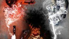 Inner battle – fight of good & evil inside the head, Struggle angel and demon, devil