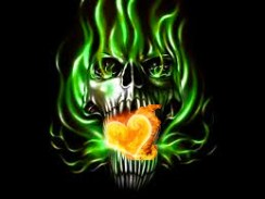 Skull with burning heart in mouth,tongue on fire,evil