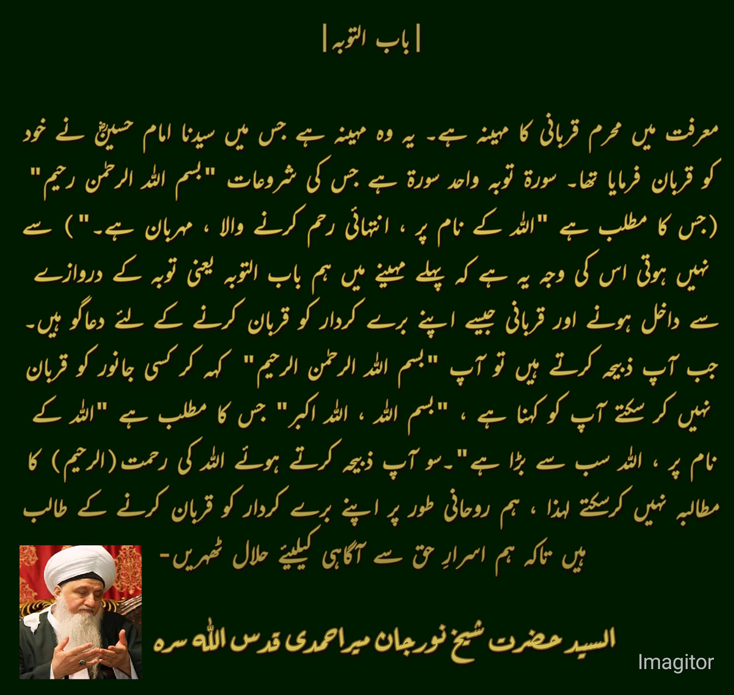 Muharram in the ma'rifat is the month of sacrifice. It's the month in which Imam...