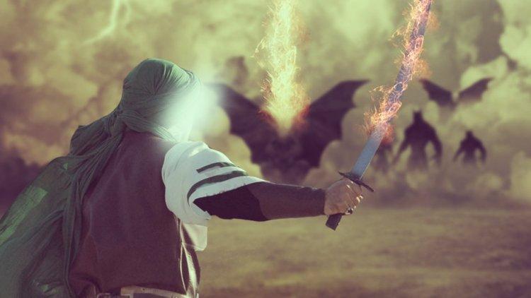 Fighting Devils, Satan, demons Khalwah fire sword