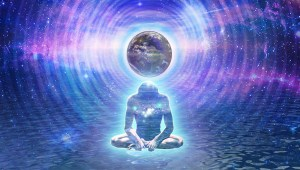 person sitting below world of light