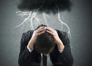 storm cloud over man, negative energy