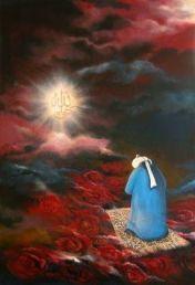 sufi saint praying , Allah hu haq,roses on prayer rug