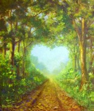 path with trees shaped in heart,way of love,mystic meditation