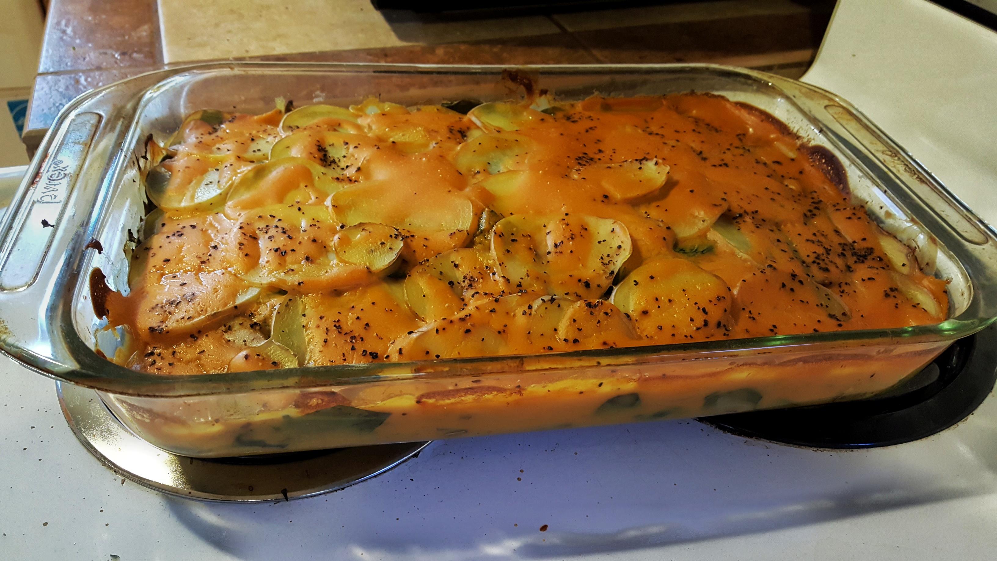 Vegan Scalloped Potatoes with Mushrooms and Collard Greens