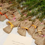 wedding seedlings in burlap bags