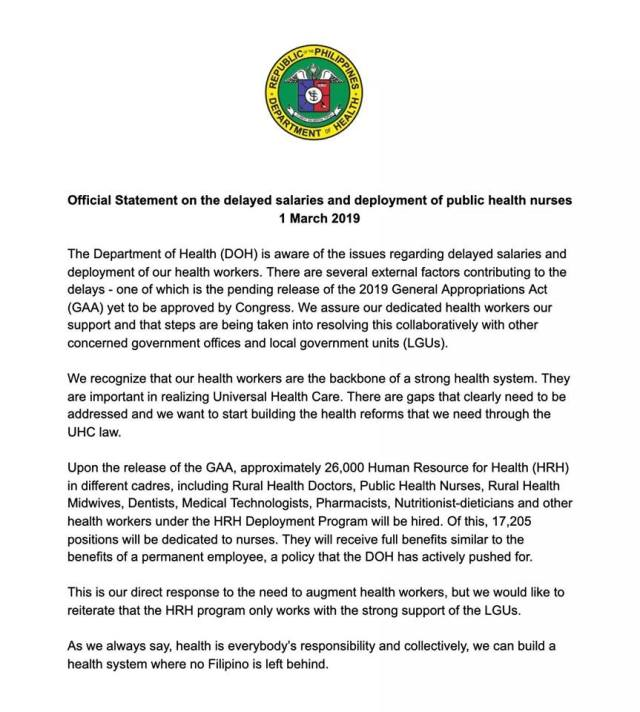 DOH statement on delayed nurses' salaries.