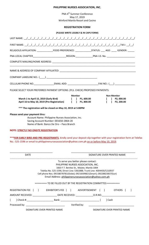 PNA Summer Conference Registration Form