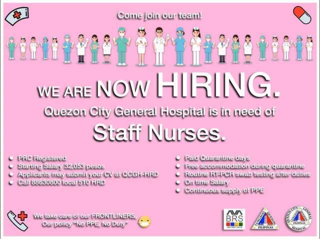 Vacancy announcement of Quezon City General Hospital, as posted in Facebook.