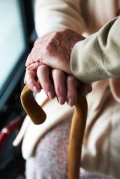 elderly lady with cane