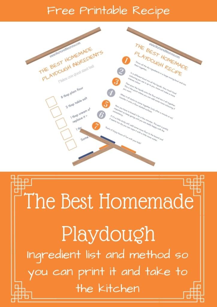 Homemade Playdough Ingredient list and Recipe