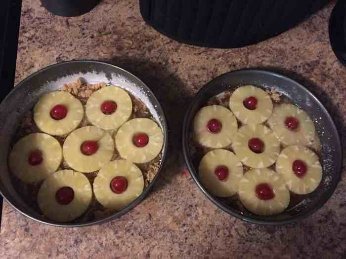 Pineapple and Cherries in Cake Pans