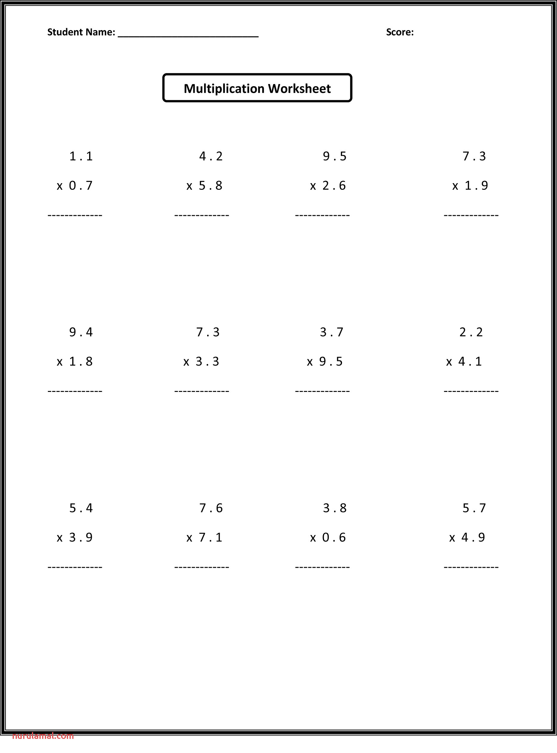 Rounding Decimals 5th Grade Math Worksheets