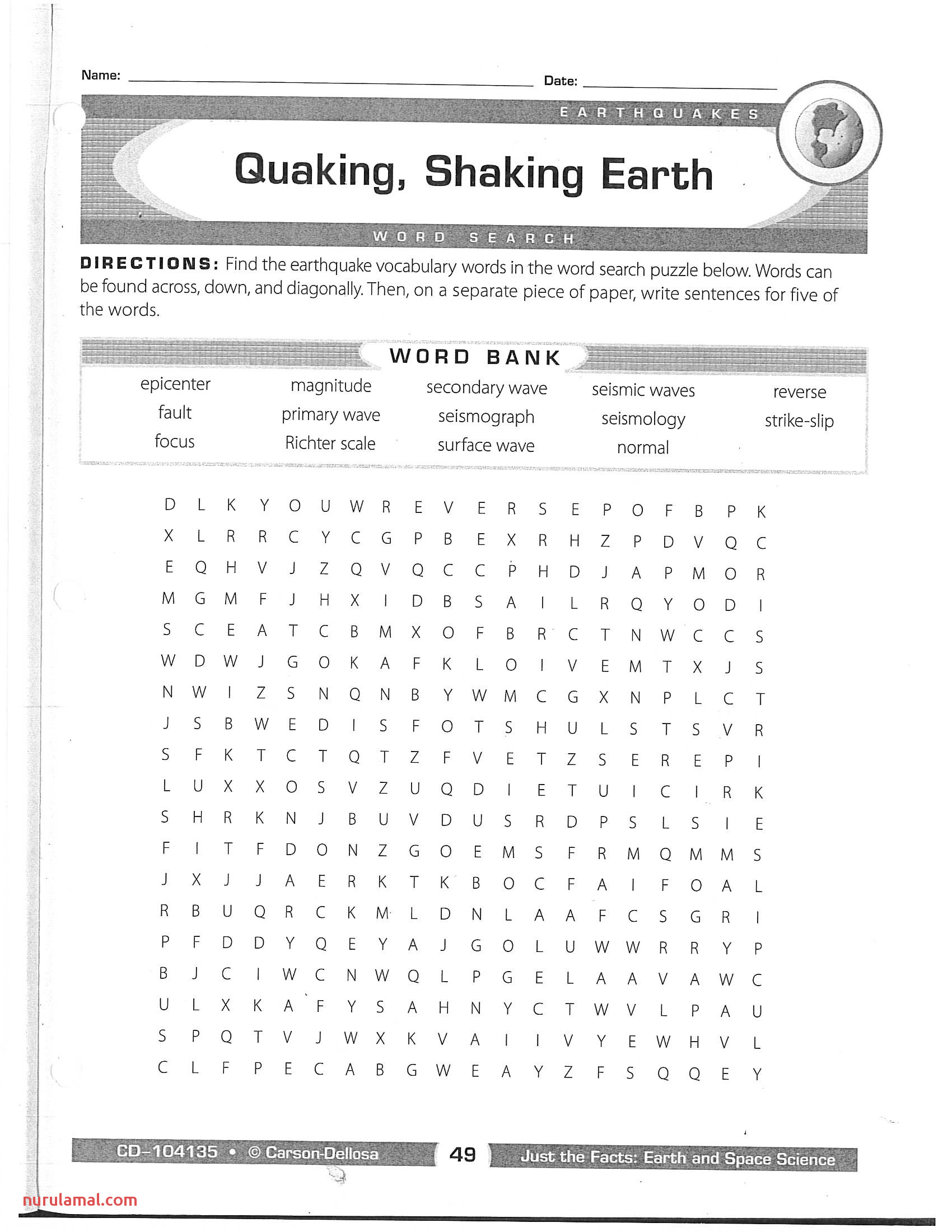 Thanksgiving Worksheet Middle School Science