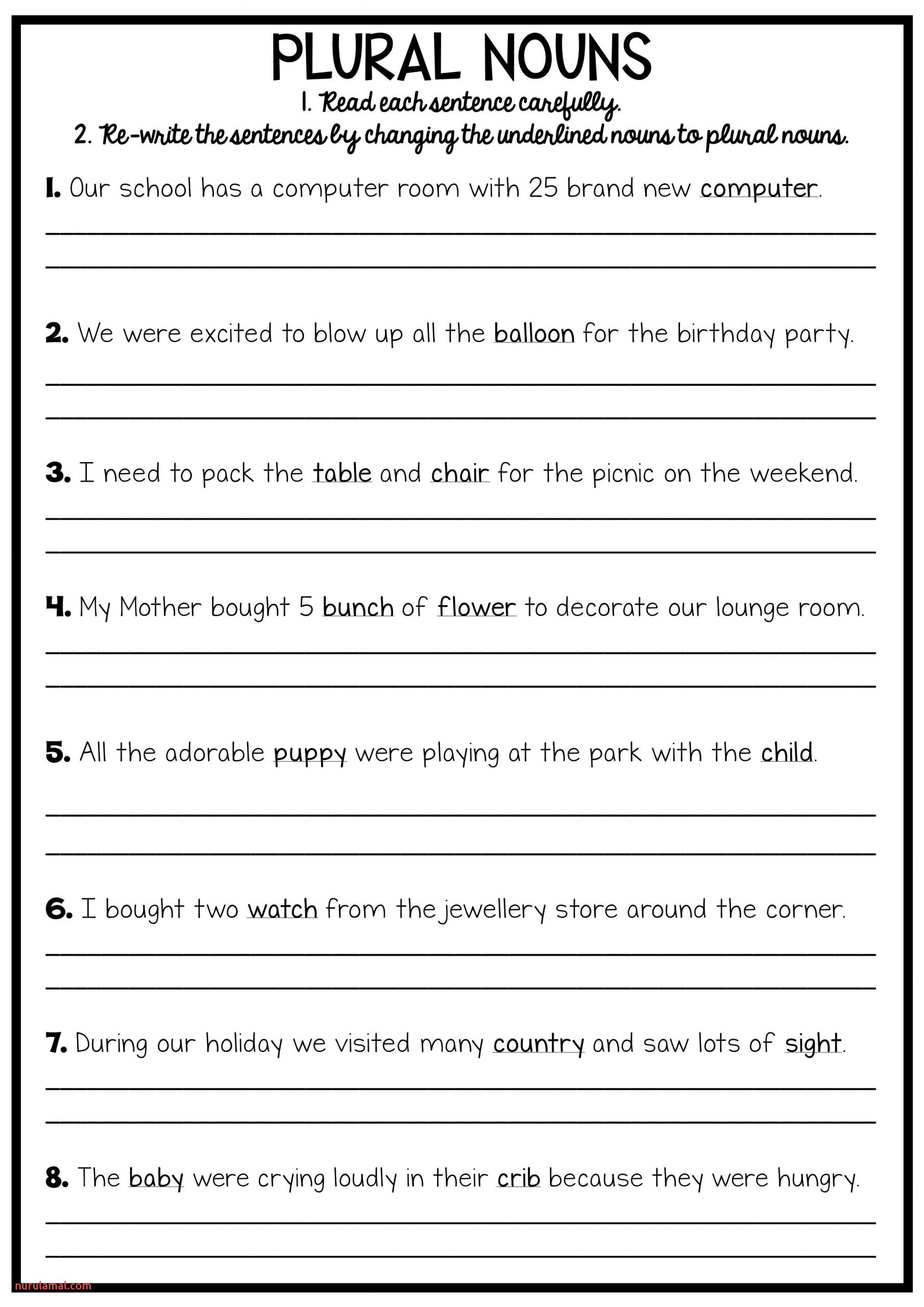 Printable Grammar Worksheets College Nurul Amal