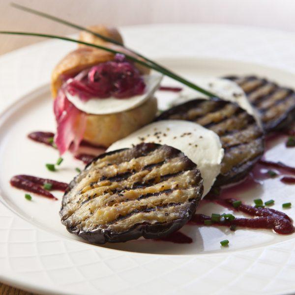 Laverstoke Buffalo Mozzarella, Grilled Aubergine, Apple Brioche, Beetroot Thyme Dressing (3)