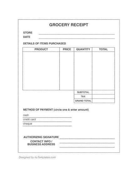 Grocery Receipt Template Grocery Receipts Nutemplates