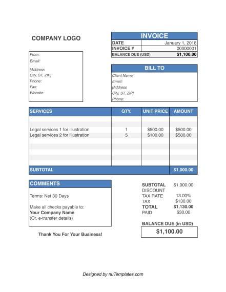 Legal Invoice Template Legal Invoices NuTemplates - Legal invoice template