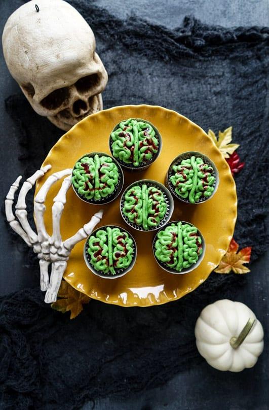 Zombie Brain Halloween Cupcakes