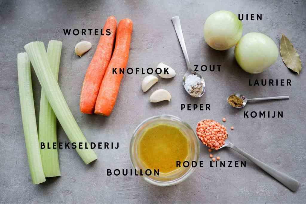 Ingrediënten voor rode linzensoep