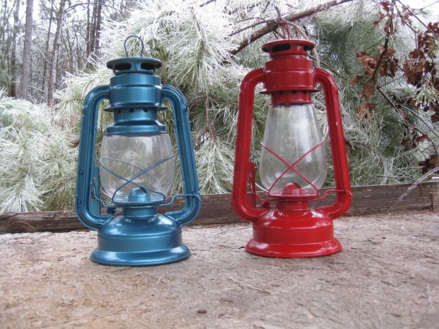 2 paraffin powered hurricane lamps