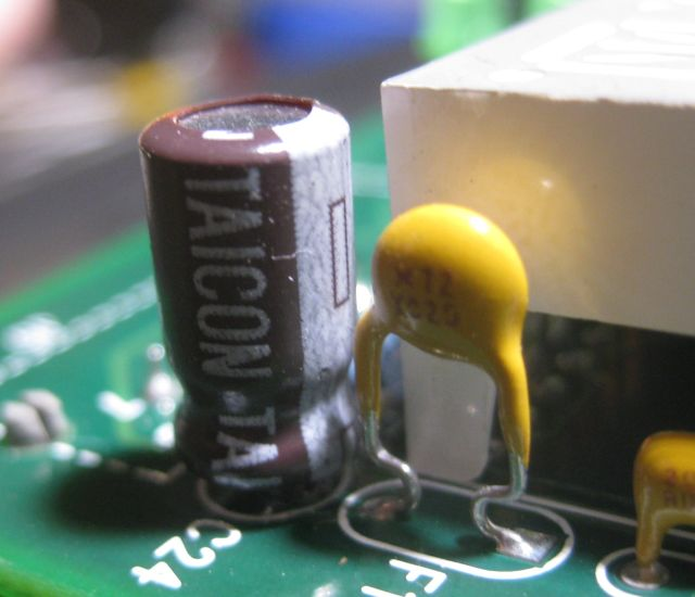 the new capacitor with polarity observed