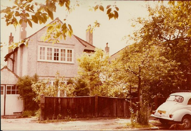 our house with trusty Morris Minor outside