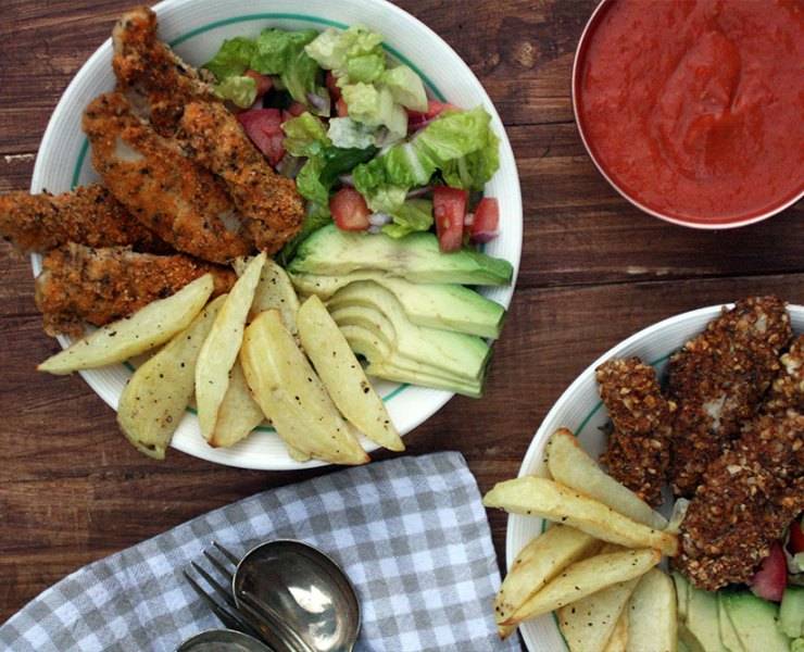 Almond Crusted Chicken Schnitzel Bowls with Roasted Chilli Tomato Sauce
