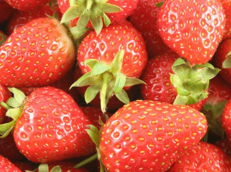 An array of bright red Scottish strawberries