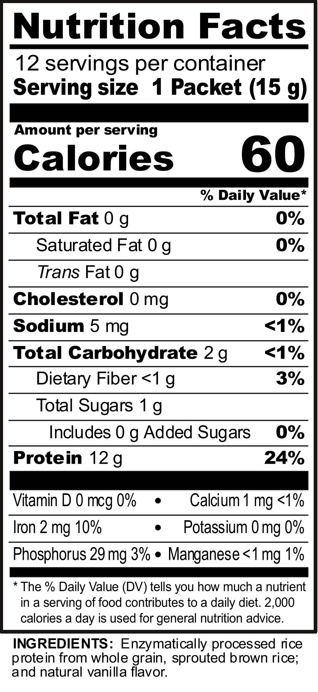 Nutribiotic Rice Protein Vanilla 53 Oz Pkts 12 Box
