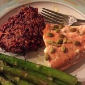 beet pancakes with salmon and asparagus