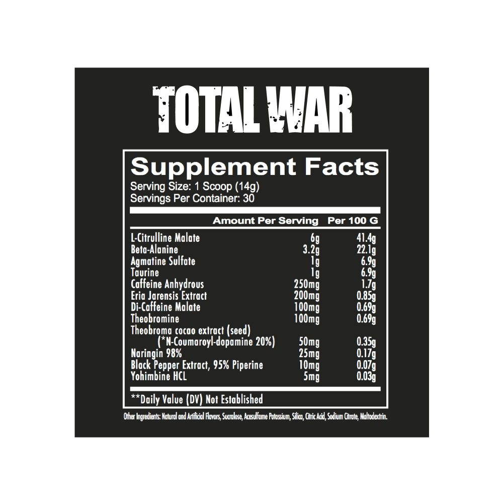 Redcon1 Total War Nutrition Fact