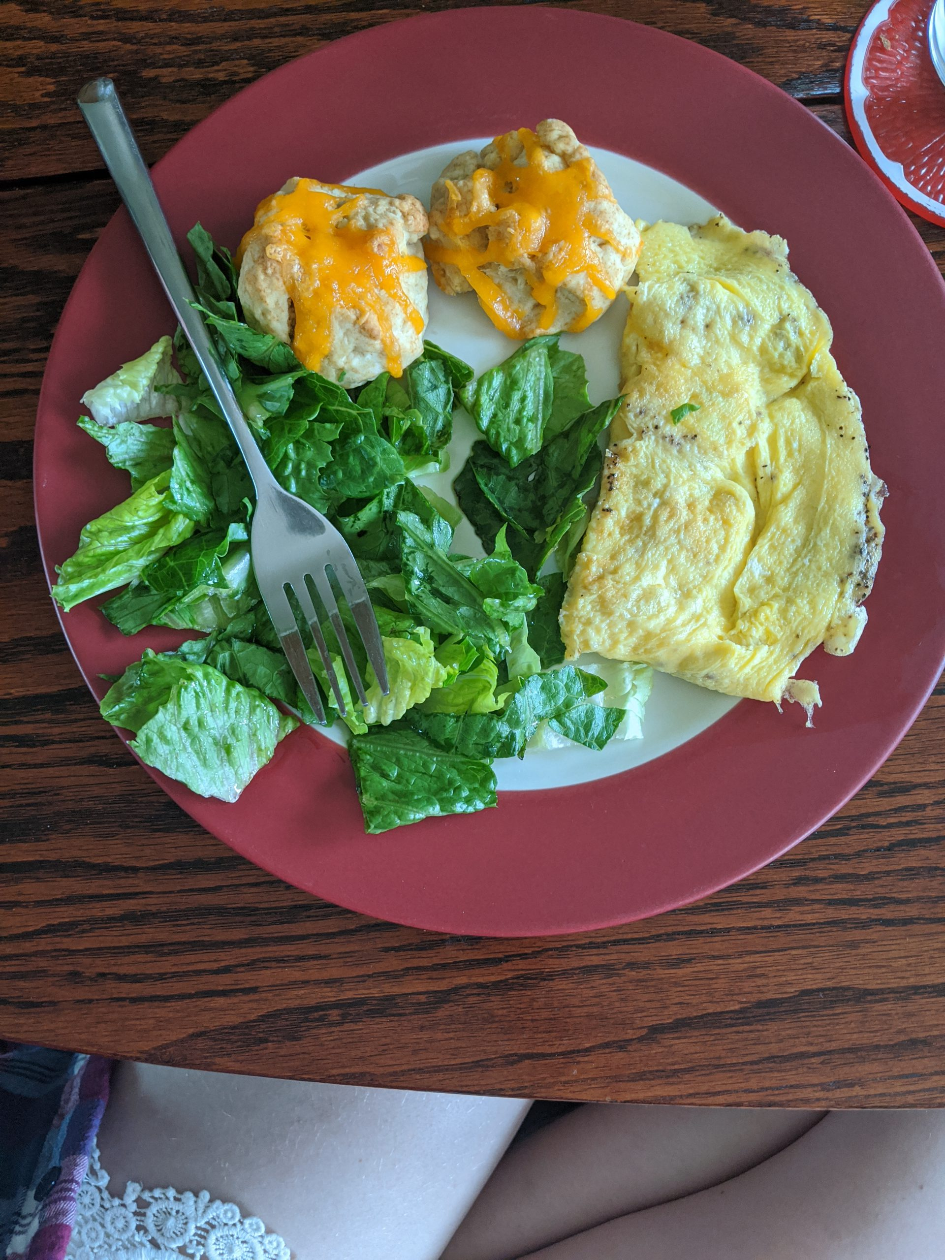 scrambled eggs and greens