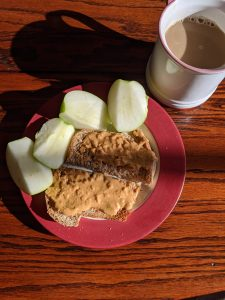 peanut butter toast and apples