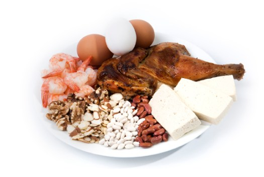 Plate full of protein foods: tofu, beans, nuts, shrimp, chicken, eggs