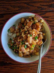 white beans and turnip stir fry